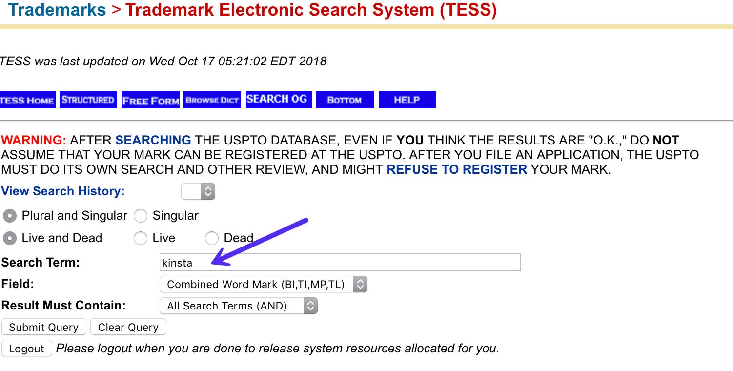 Término de búsqueda de la marca registrada