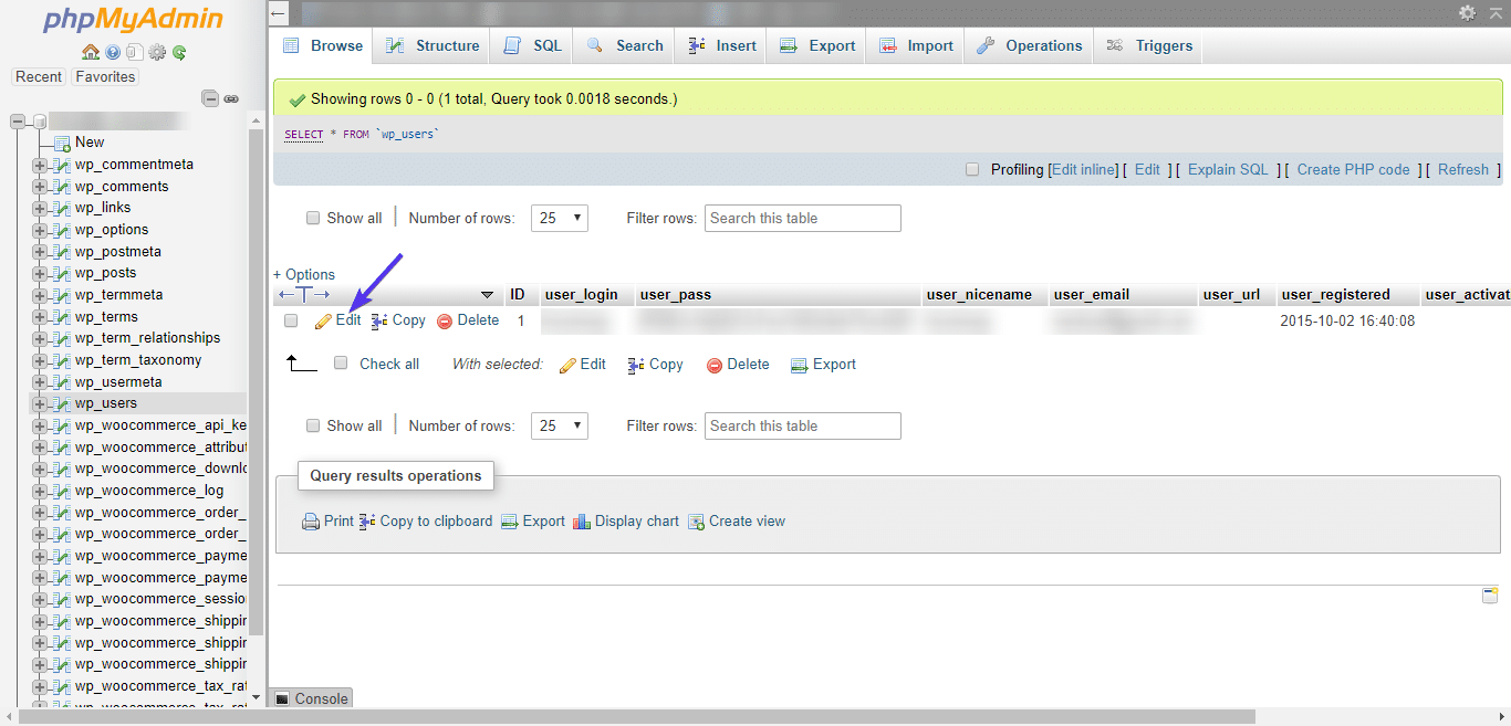 Editar usuario de admin en phpMyAdmin