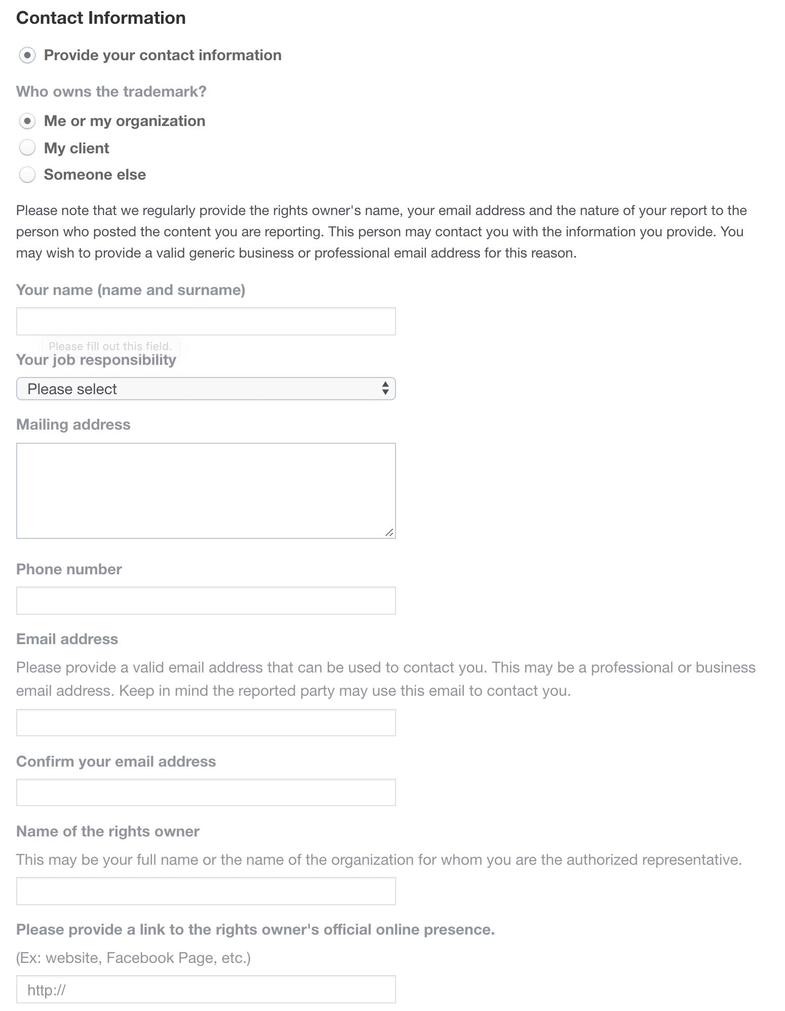 Información de contacto necesaria para un reporte de infracción de marca registrada en Facebook