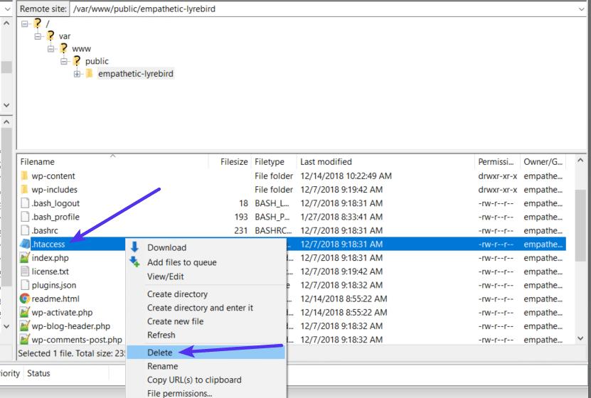 Borrando el archivo .htaccess