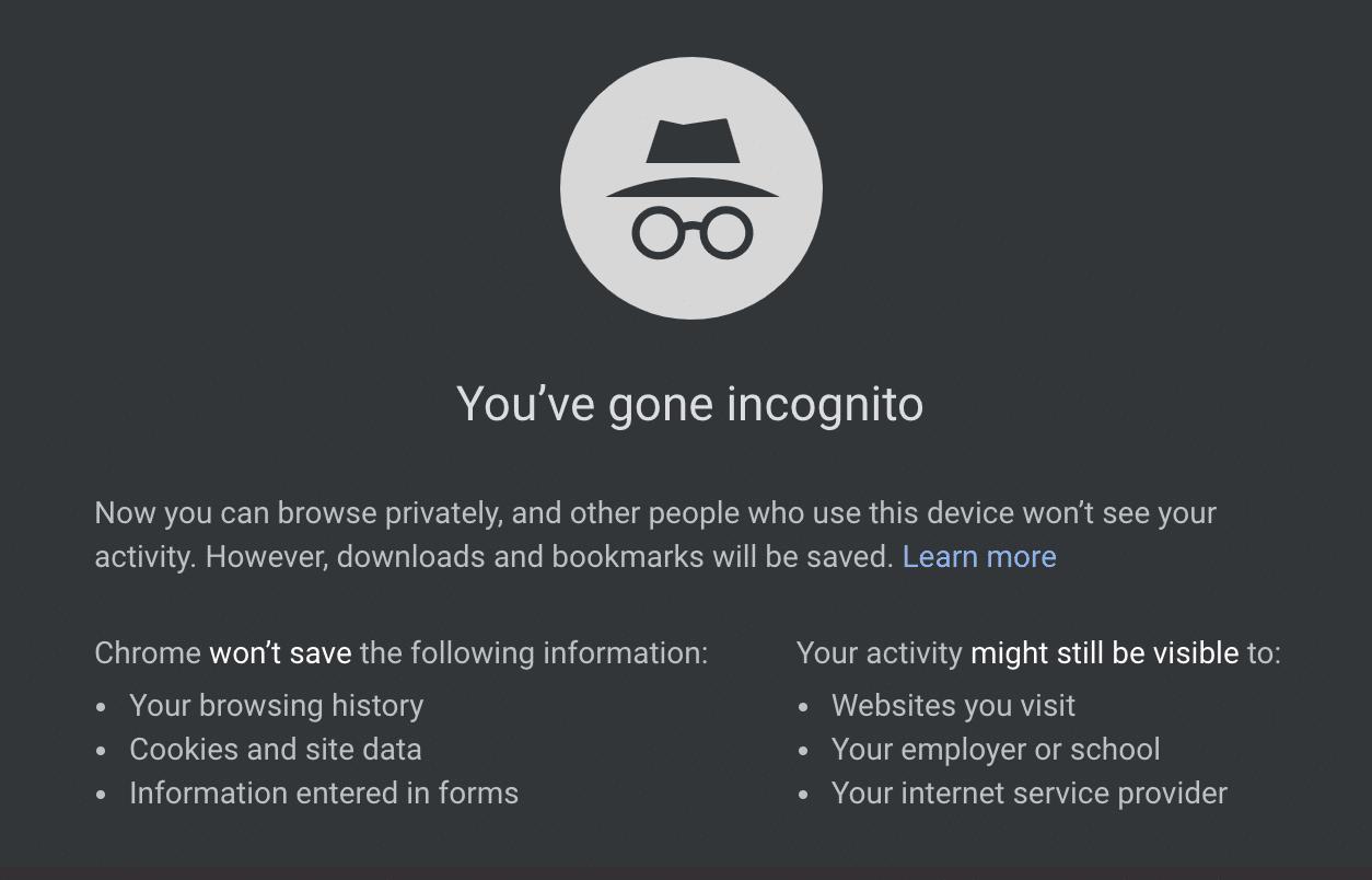 Modo incognito de Chrome