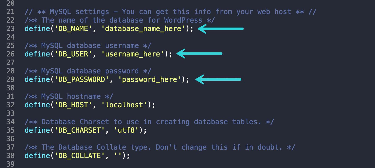 Configuración de MySQL en wp-config.php