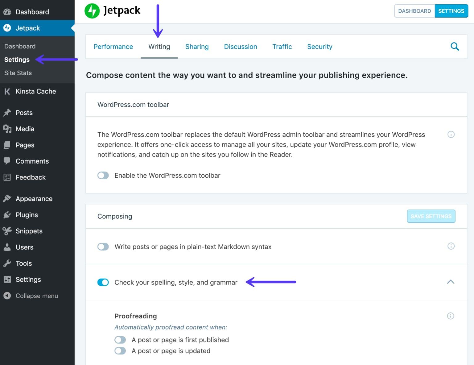 Activando la revisión gramatical y vocabulario de Jetpack