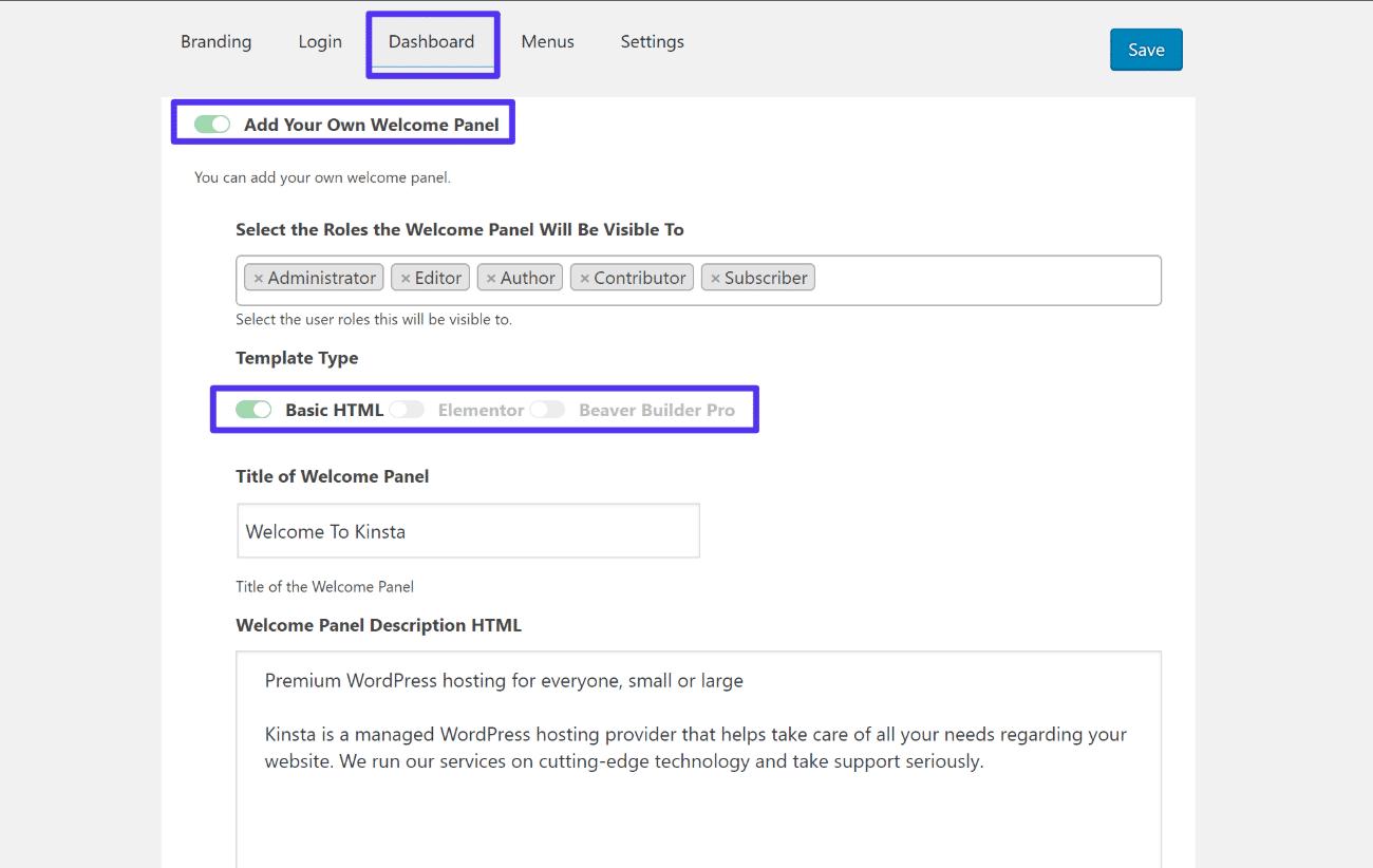 Cómo agregar panel personalizado al dashboard