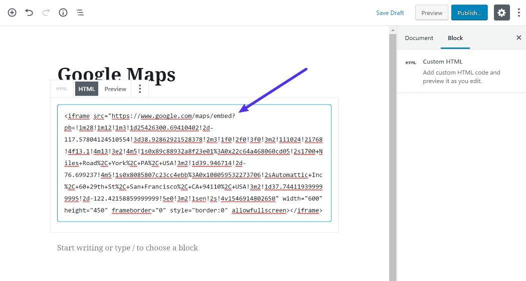 Cómo agregar el código integrado en el editor de bloque de WordPress