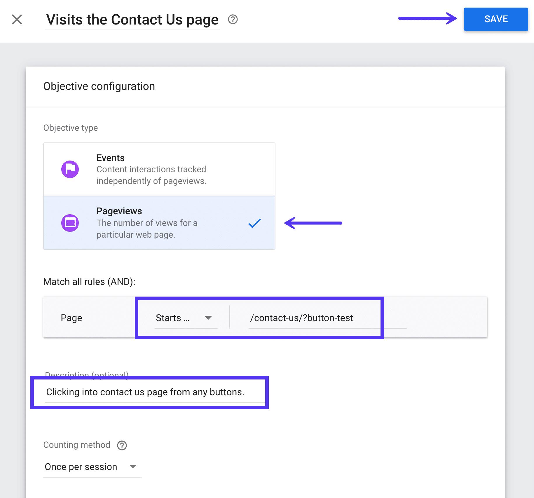 Objetivo personalizado en Google Optimize