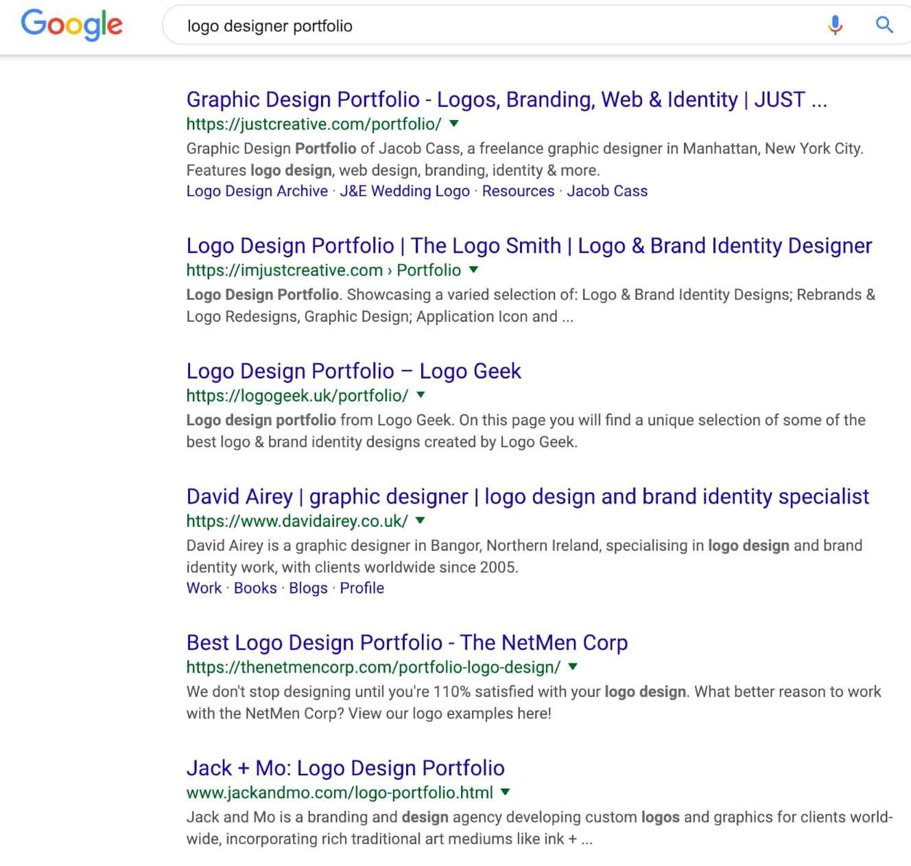 """La primera página de resultados de Google para """"portafolio de diseñador de logo"""""""