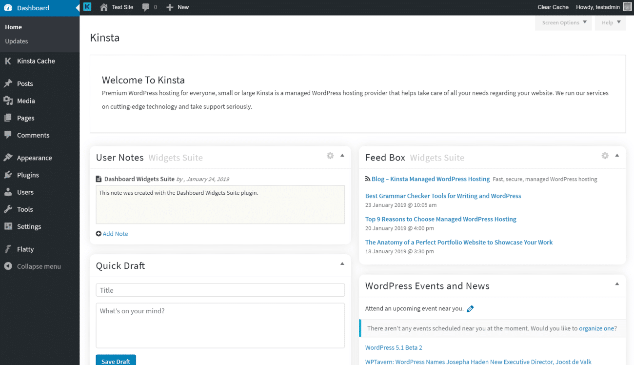 Tema de admin de Flatty para WordPress