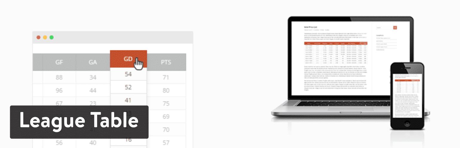 Plugin de League Table para WordPress