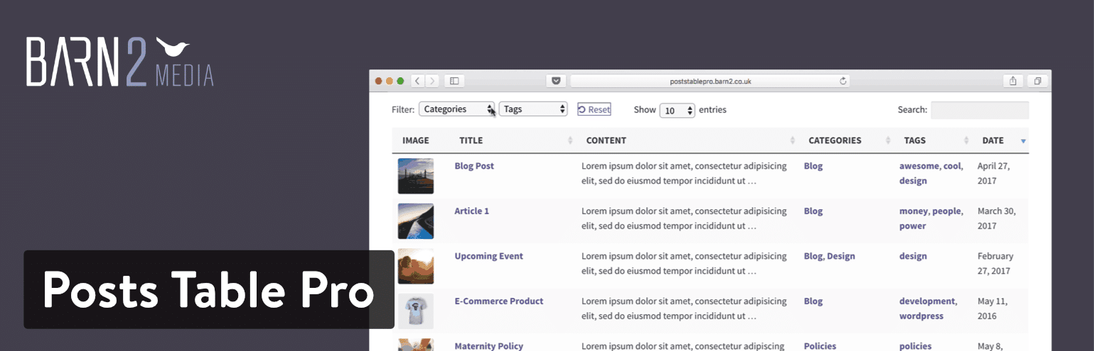Plugin de Posts TablePro para WordPress