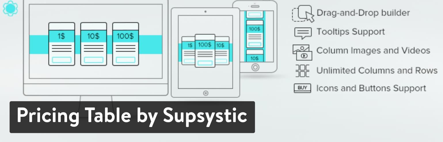 Plugin de Pricing Table by Supsystic para WordPress