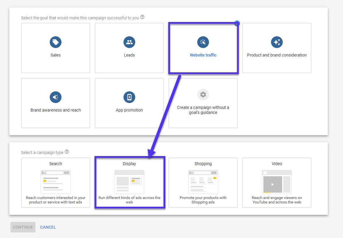 Visualización del sitio web en Google Ads