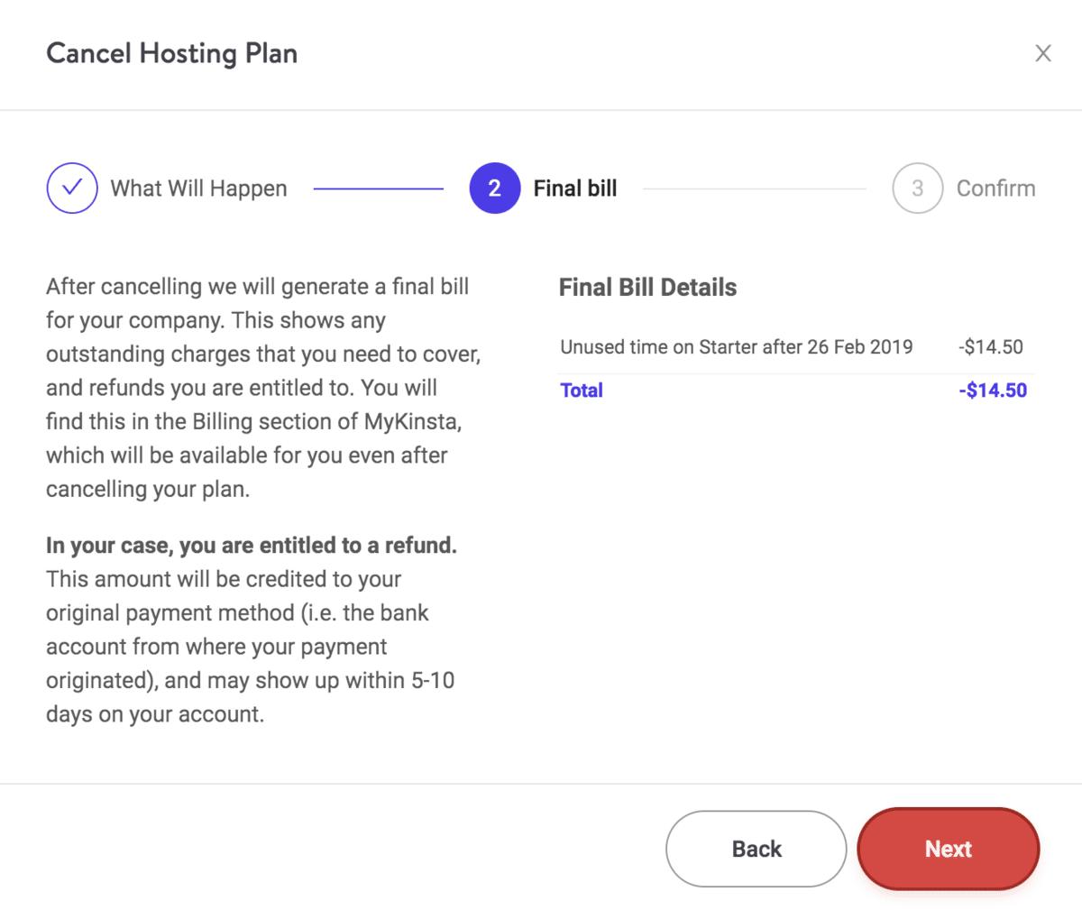 Cancelación de plan de Kinsta – recibo final