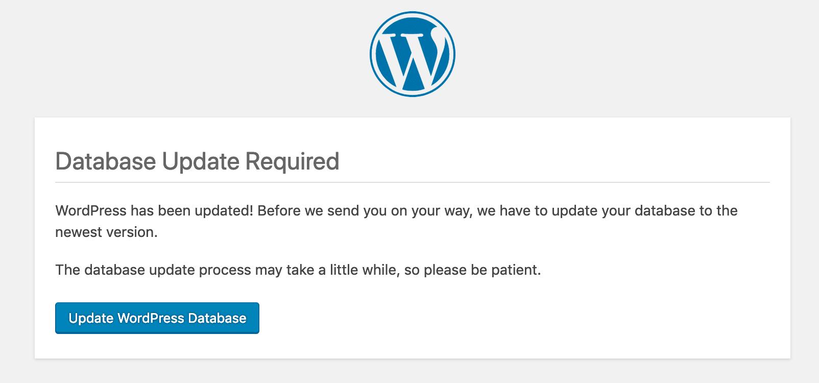 Se requiere actualización de la base de datos