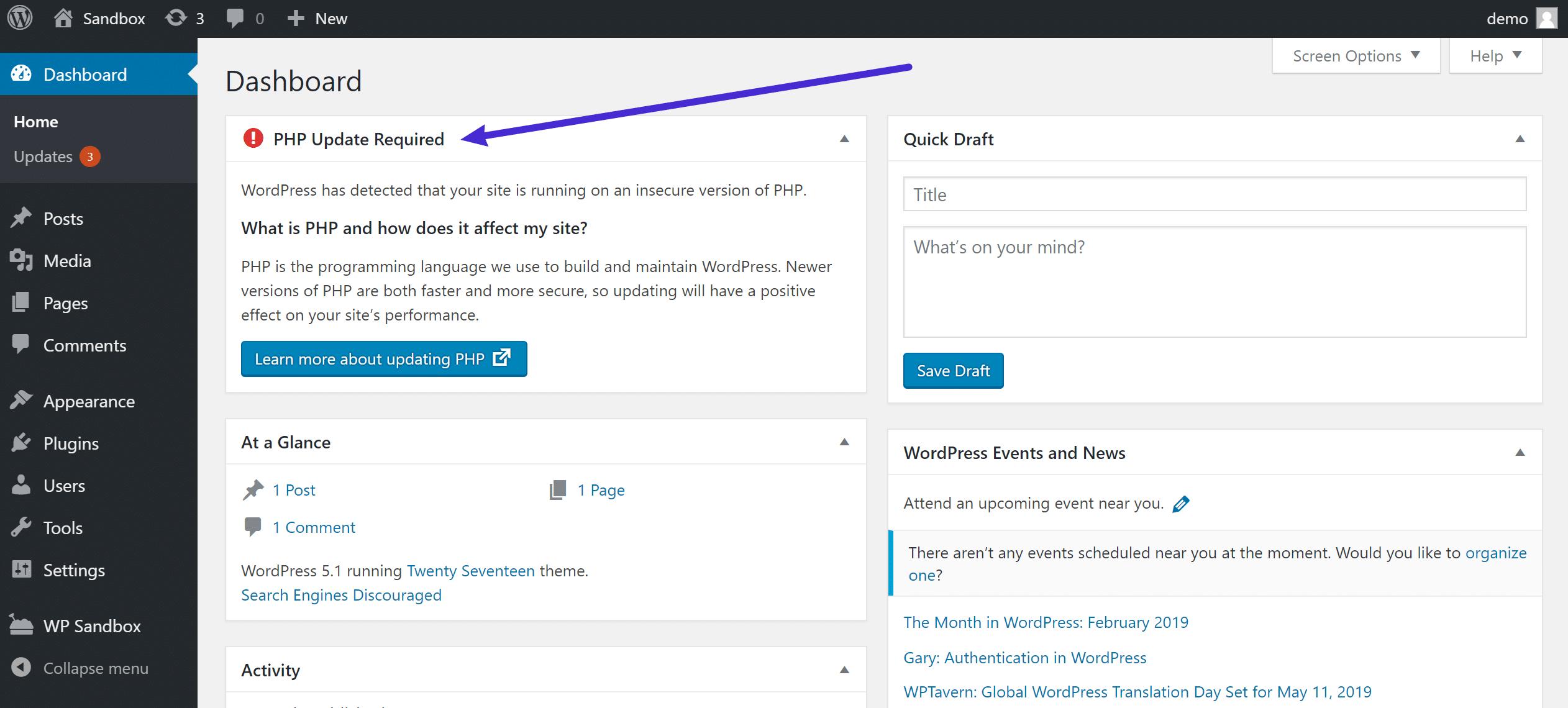 Aviso sobre su versión de WordPress 5.1 PHP en el dashboard