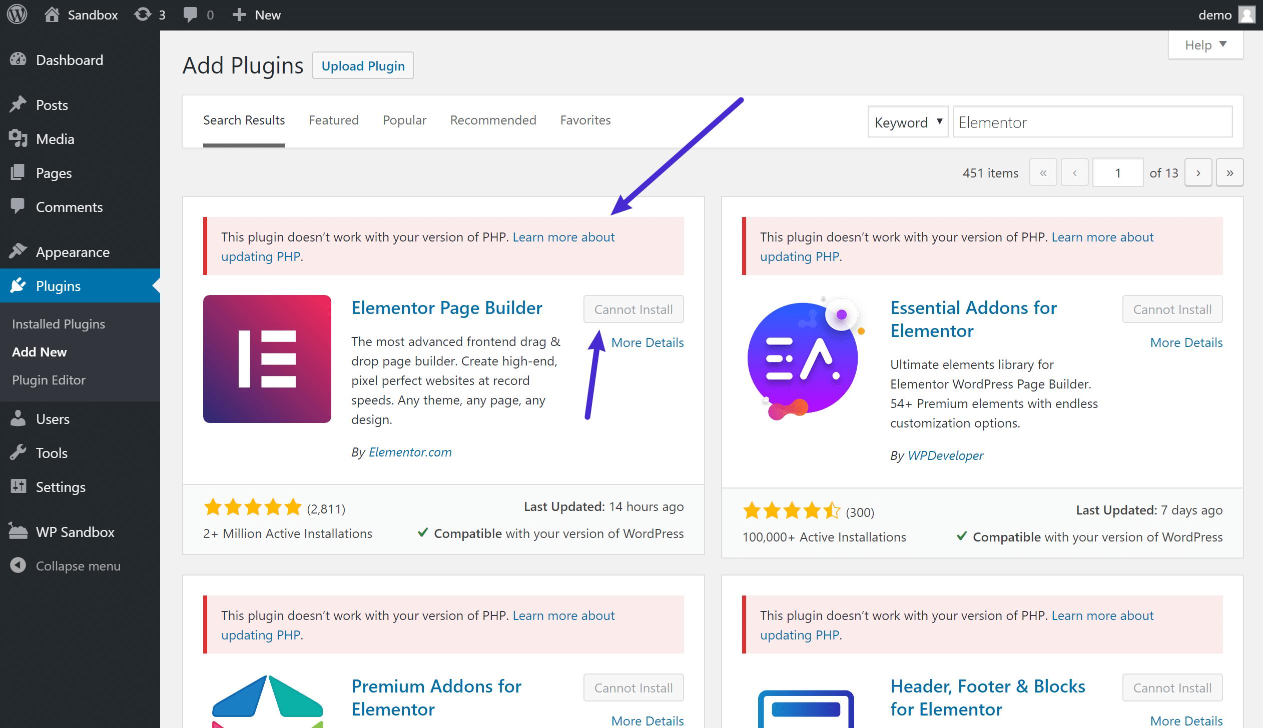 Chequeo de compatibilidad de PHP para plugins
