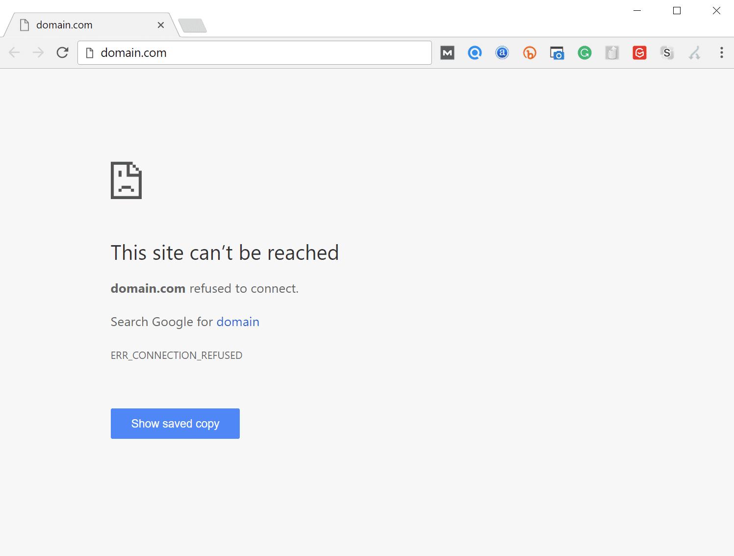 Error ERR_CONNECTION_REFUSED en Google Chrome