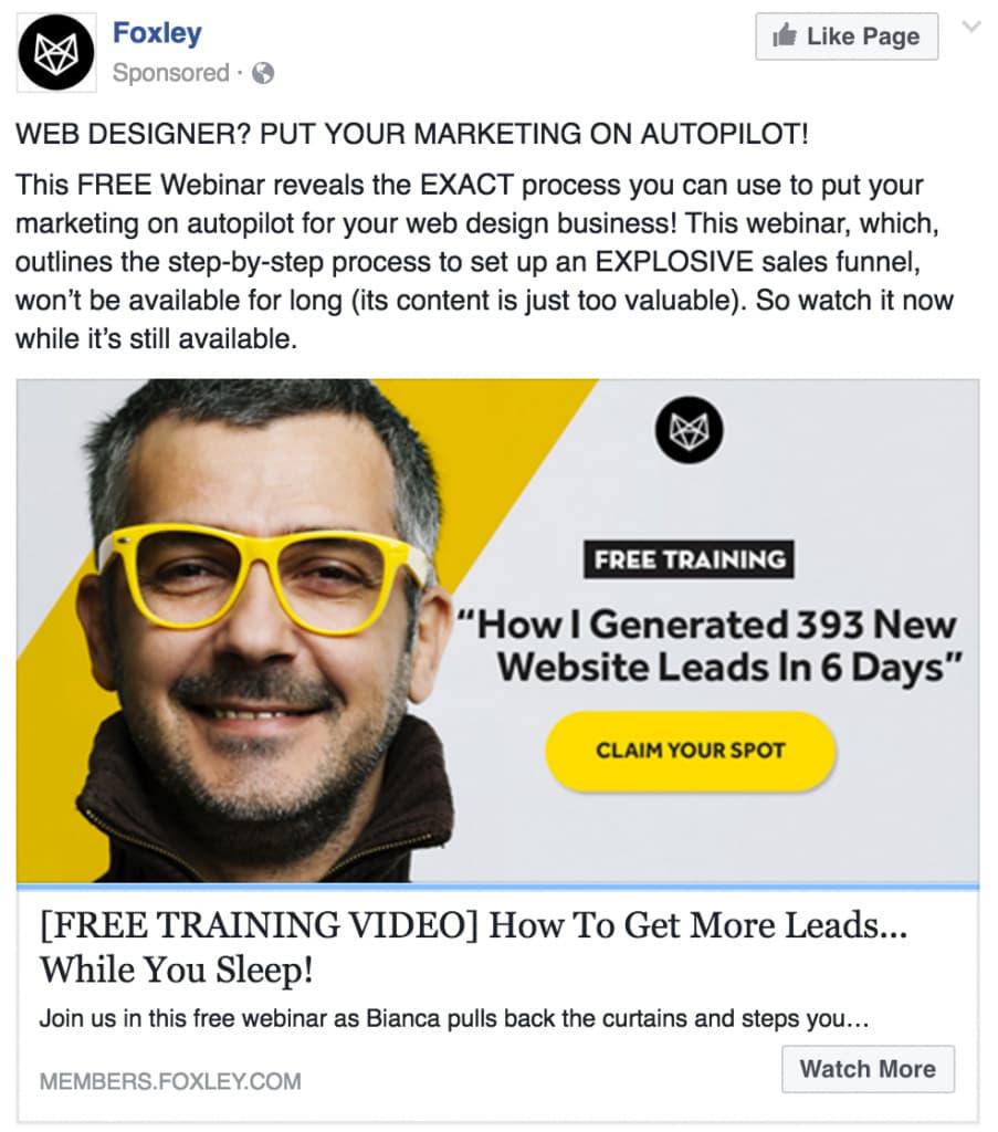 Facebook ad sobre video de entrenamiento B2B