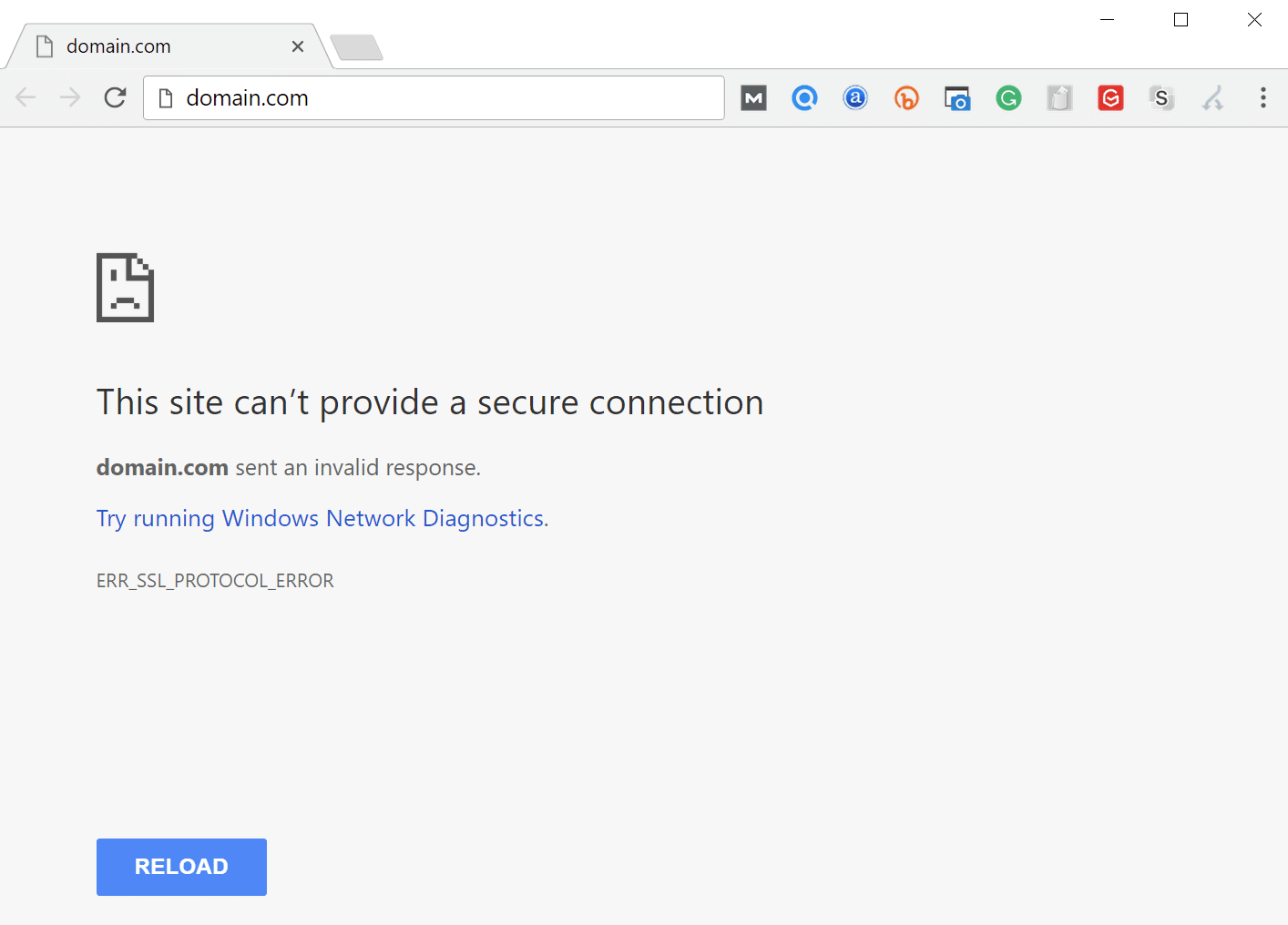 ERR_SSL_PROTOCOL_ERROR en Chrome