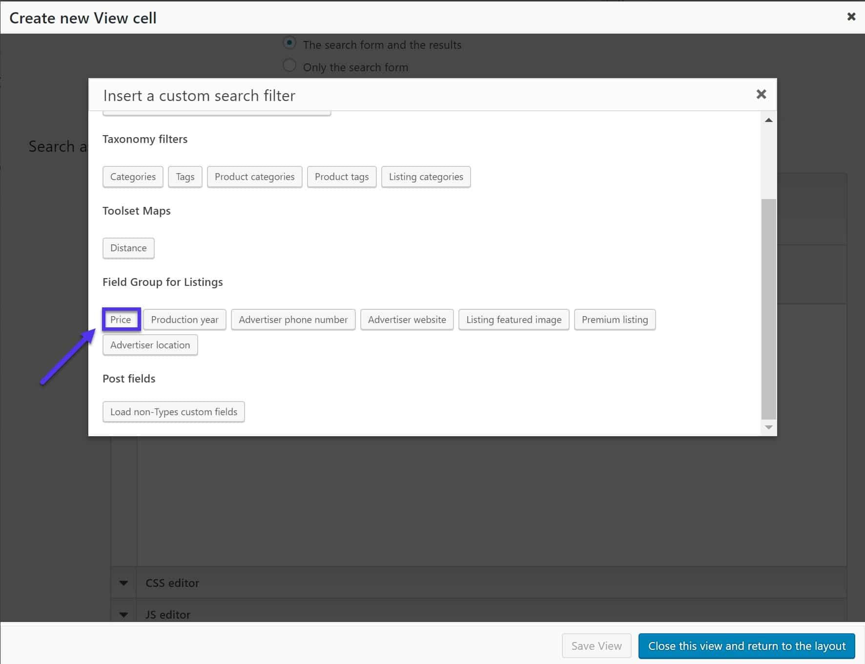 Agregue nuevos filtros de búsqueda personalizados como shortcodes