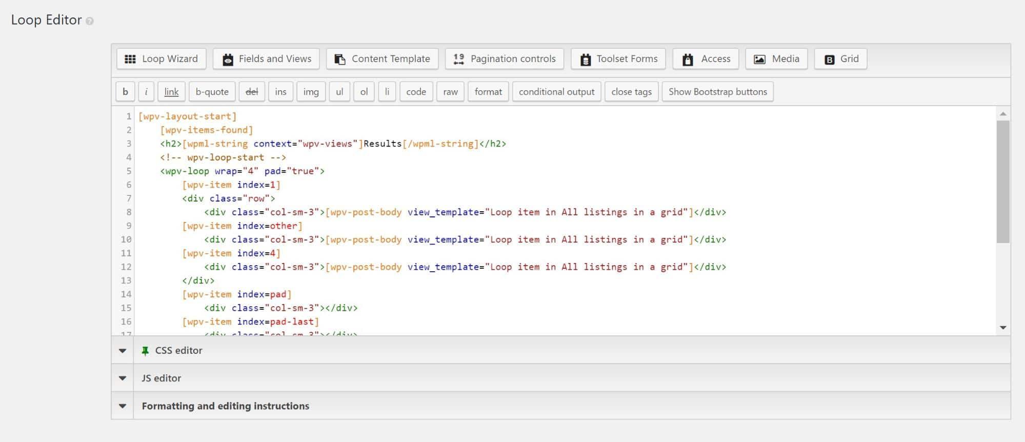 Como luce el edito de loop con los campos