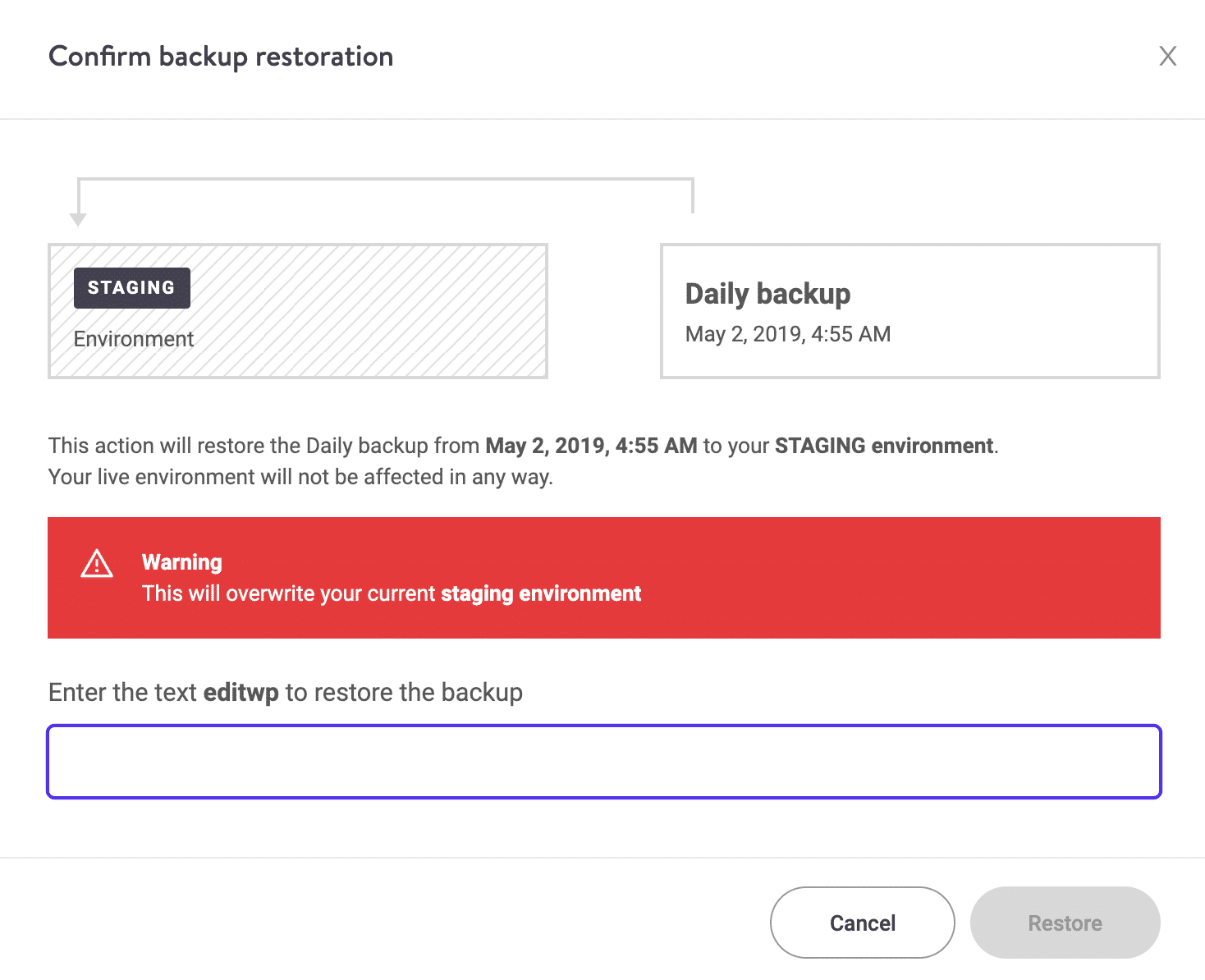 Confirme la restauración del respaldo de WordPress al entorno de prueba
