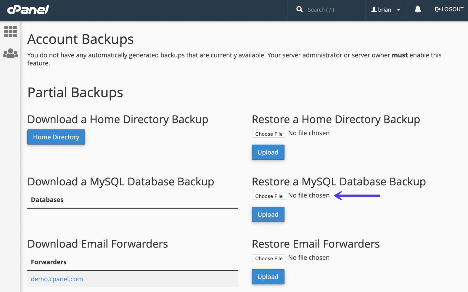 cPanel restaurando el respaldo de la base de datos de MySQL