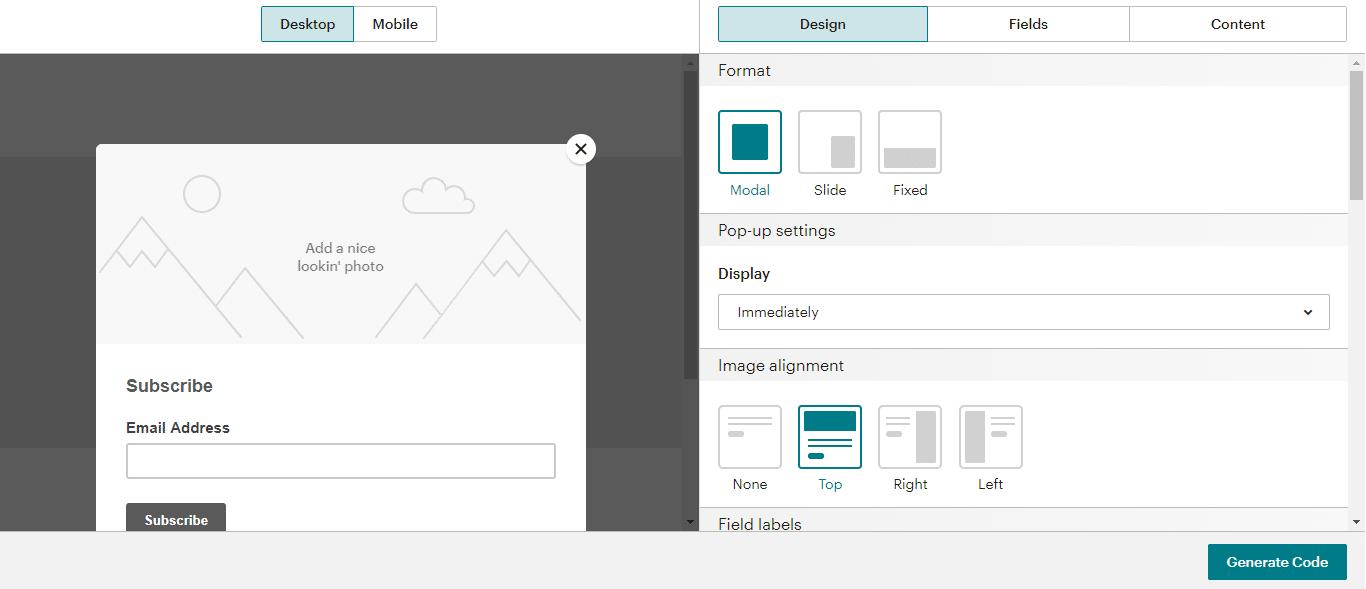 Diseño de formulario de Mailchimp