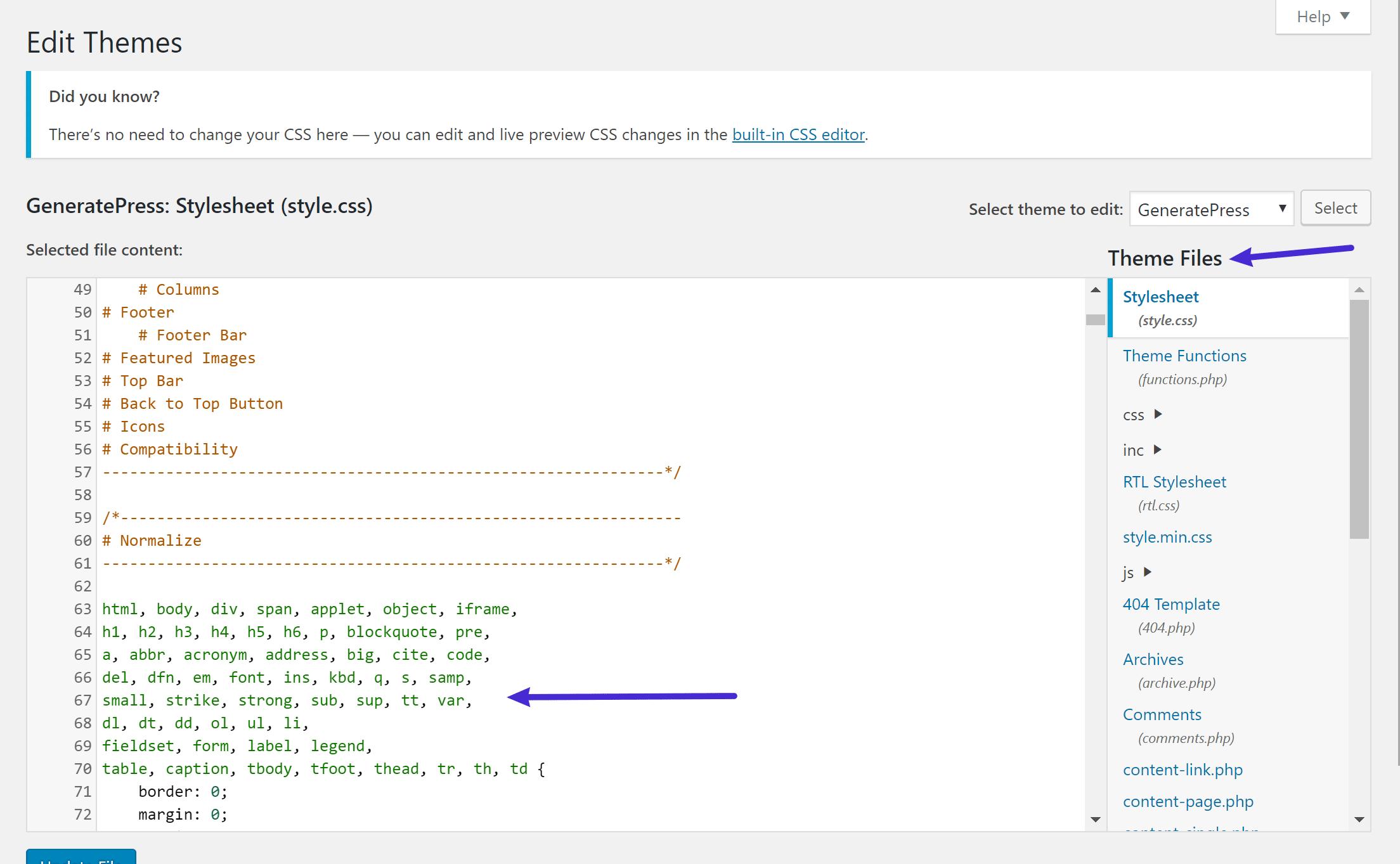 Editor de código de WordPress en el dashboard