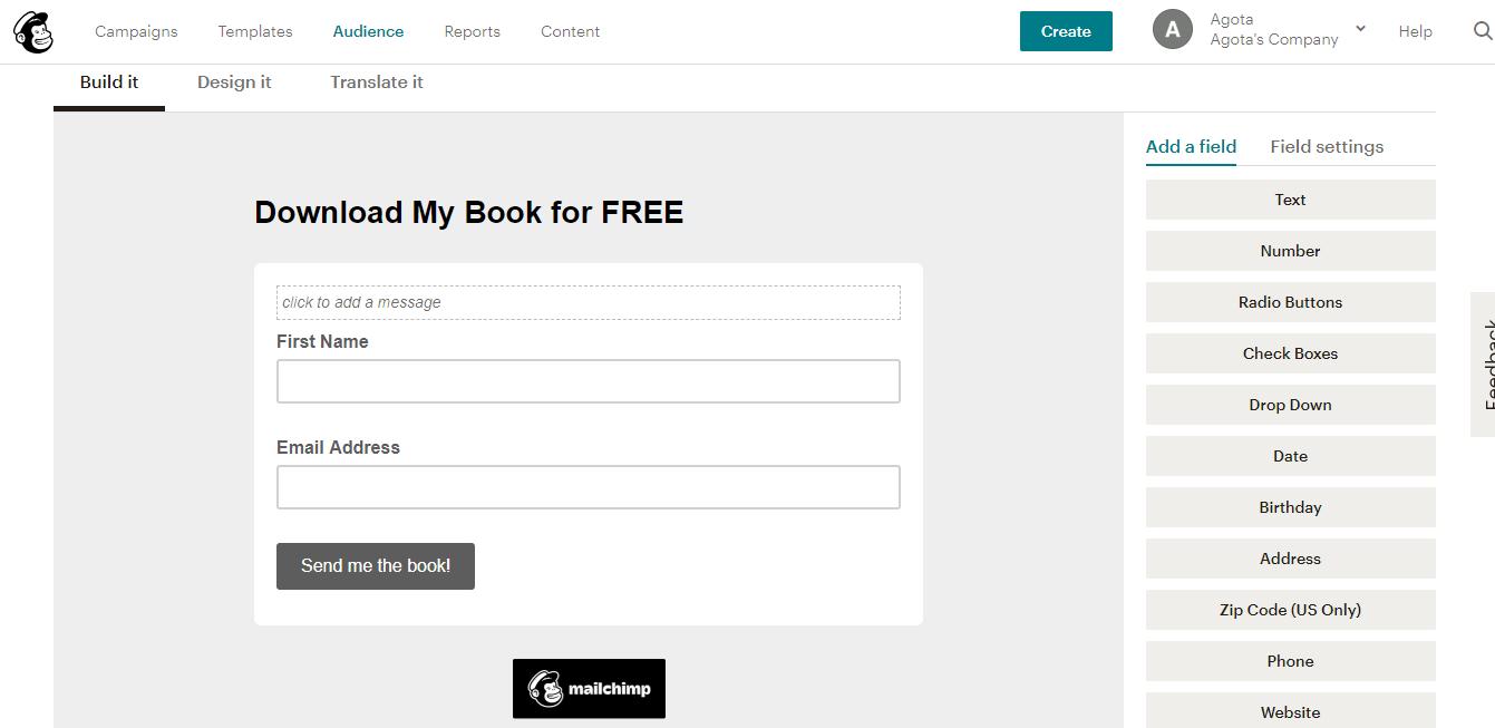 Ejemplo de formulario de Mailchimp