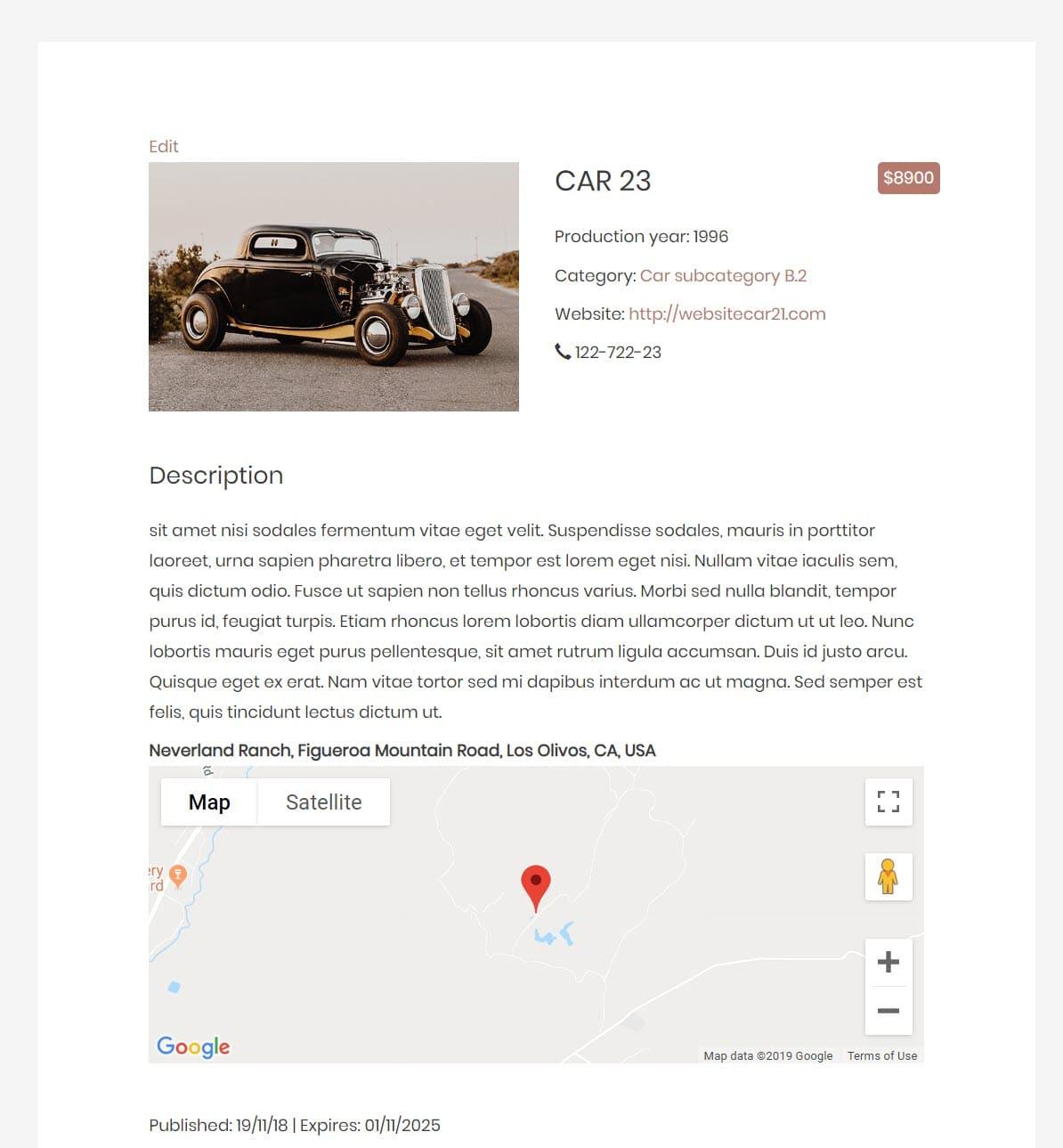Ejemplo de plantilla de sitios de anuncios