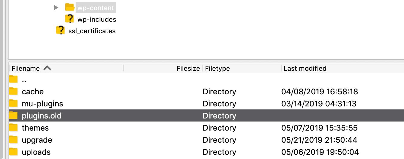 Folder de plugins de WordPress con un nuevo nombre