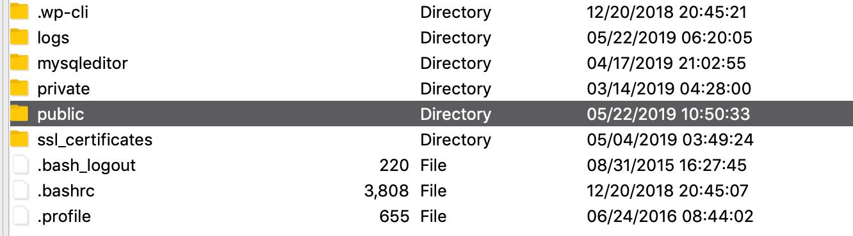 Folder raíz SFTP de WordPress