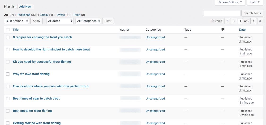 La pantalla de publicaciones