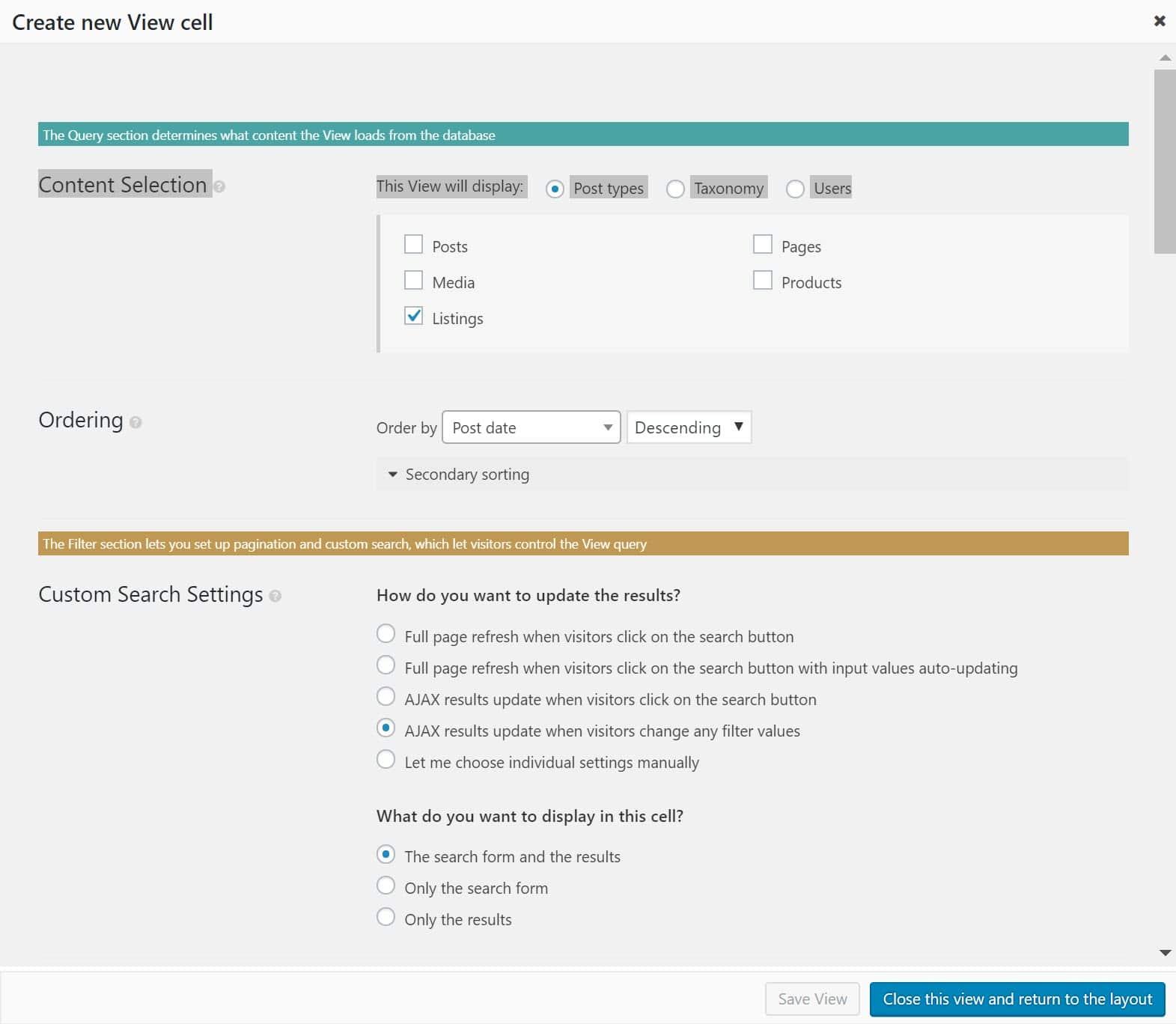 Opciones de búsqueda personalizada