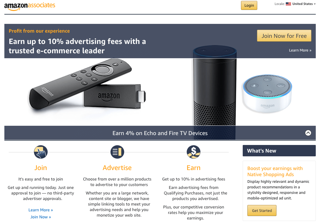 Página de inicio de Amazon Associates