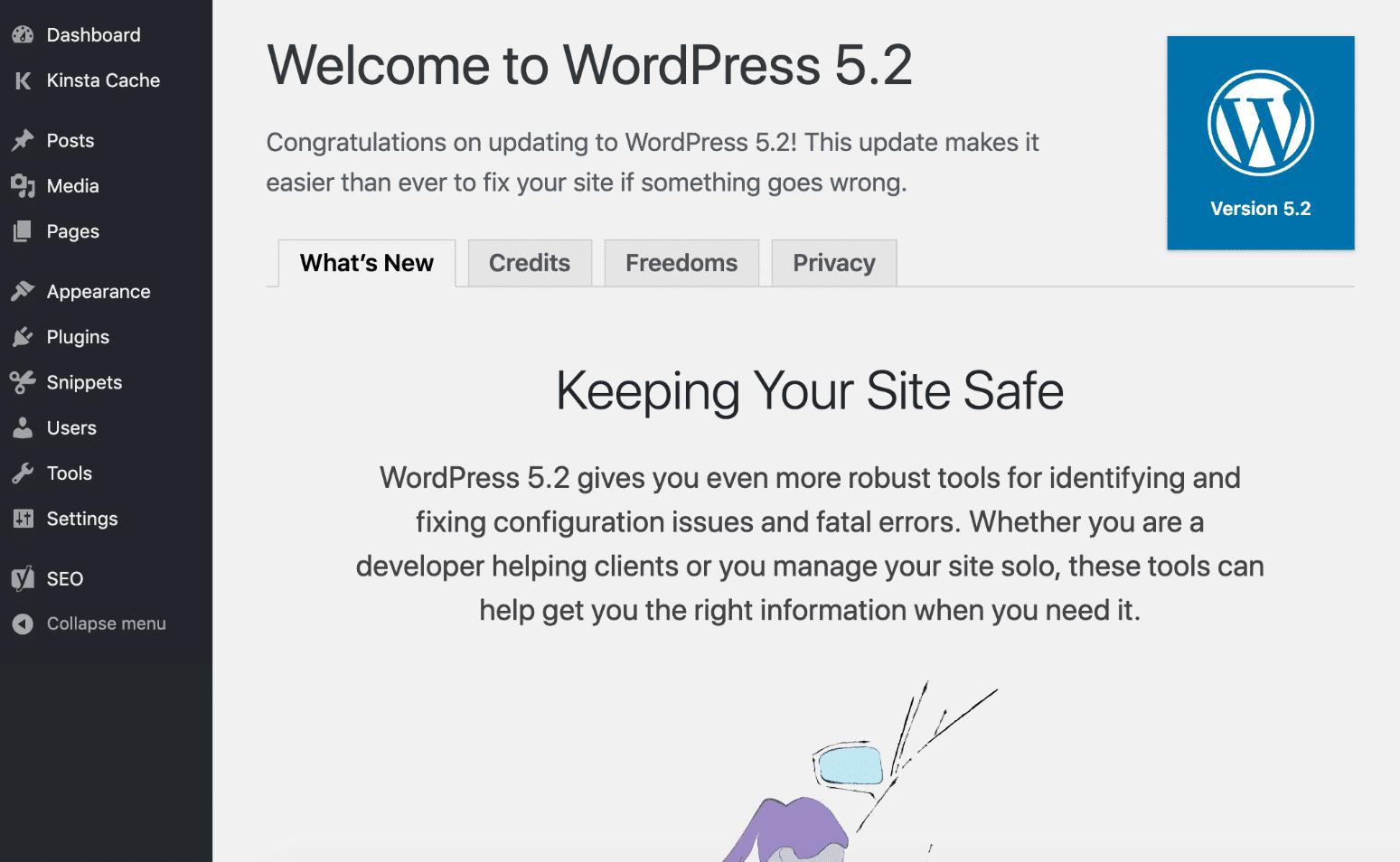 Pantalla de bienvenida de WordPress 5.2