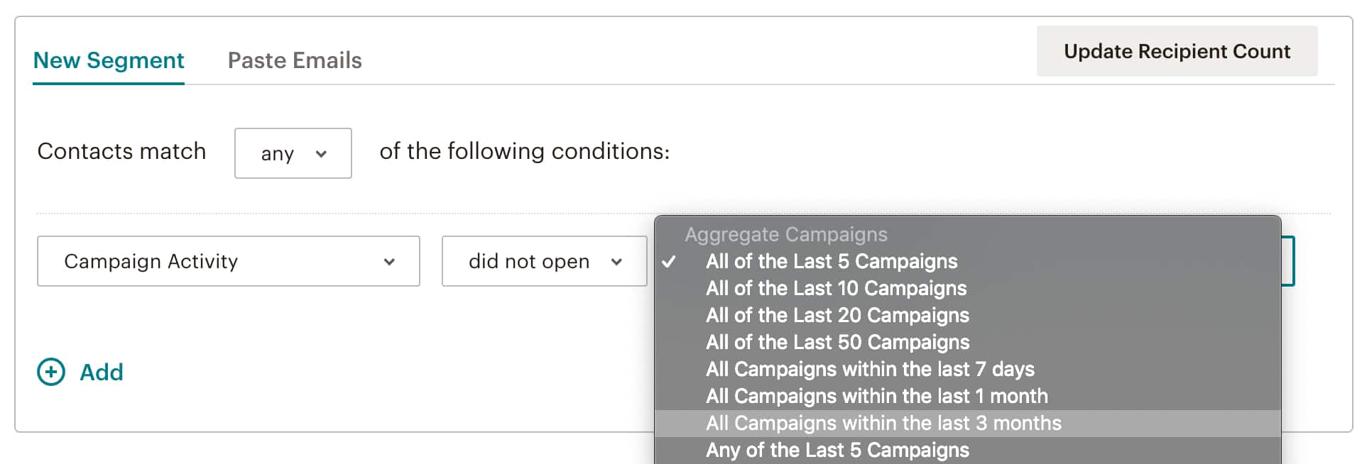 "Segmento de ""No Abrió"" en Mailchimp"