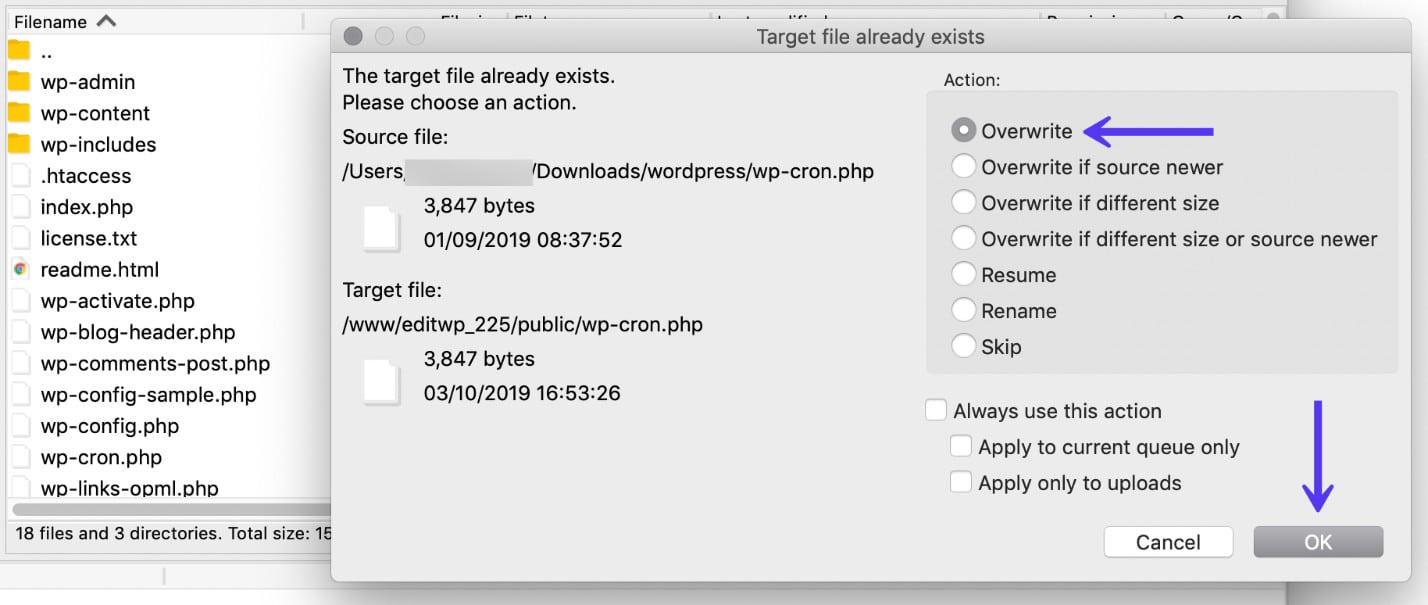 Suba los archivos restantes a través de SFTP