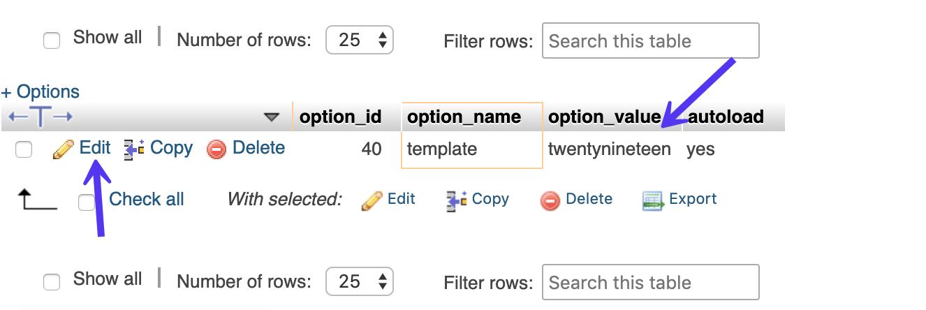 wp_options nombre de la plantilla