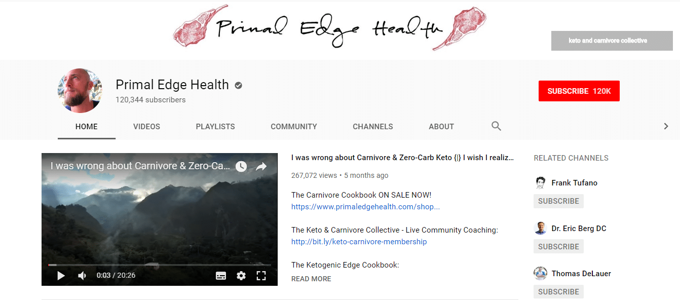 El canal de Primal Hedge Health en YouTube