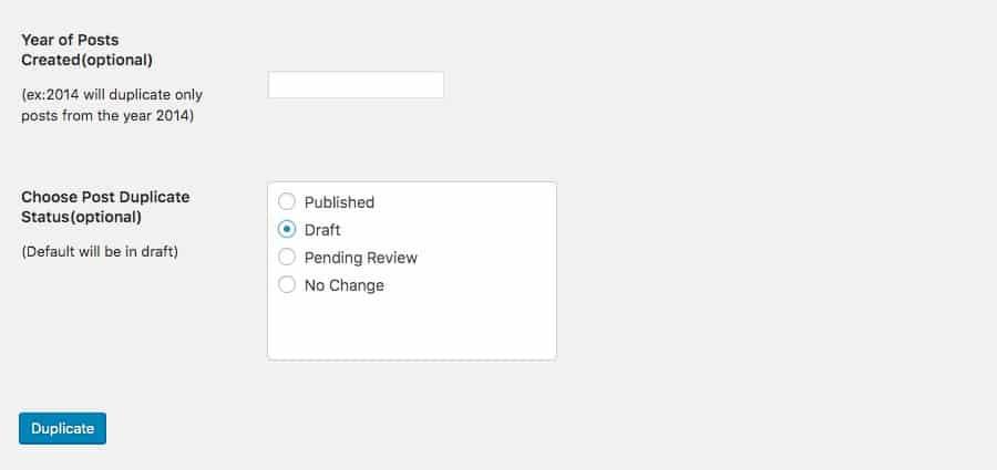Configuración de Bulk Duplicate – año y estatus de publicación