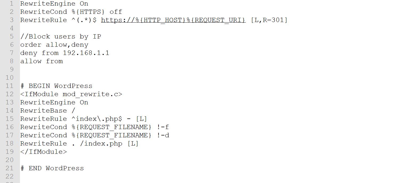 Un ejemplo de un archivo .htaccess de WordPress con reglas personalizadas