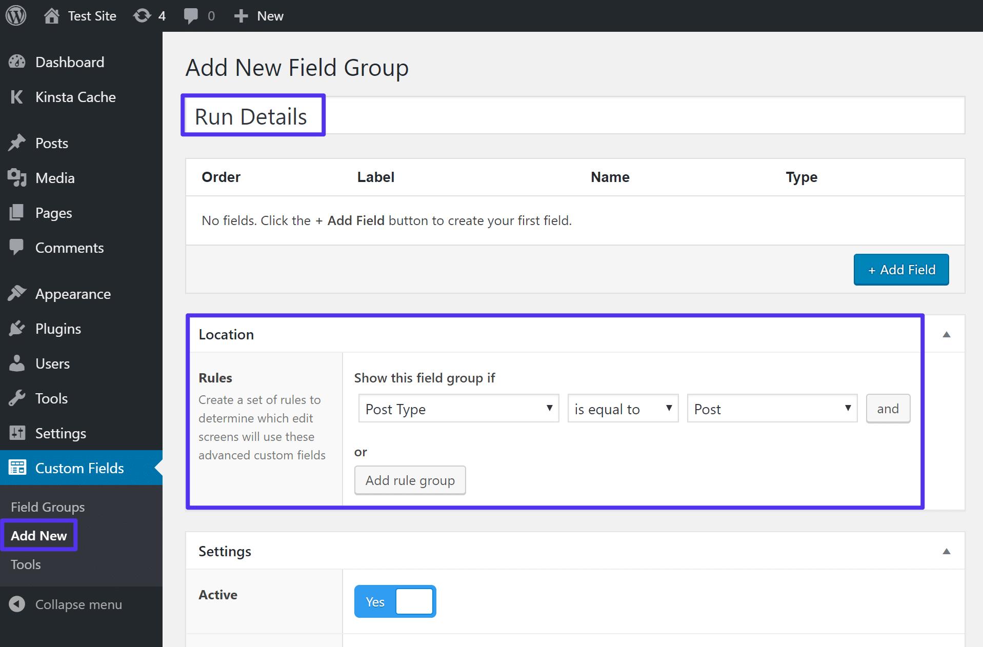 Cree un nuevo grupo de campo en ACF