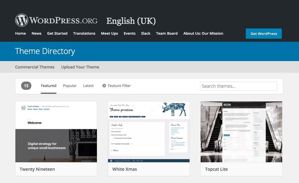 Directorio de tema de WordPress