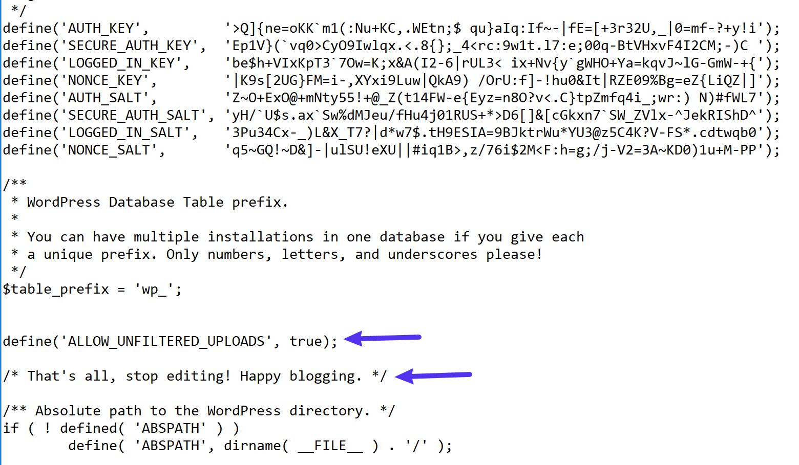 Donde agregar el código en su archivo wp-config.php