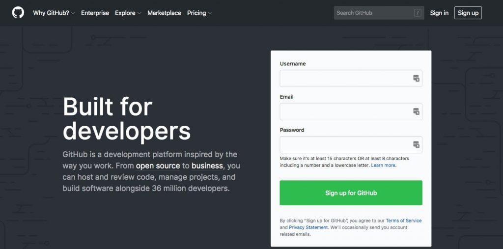 El sitio de GitHub