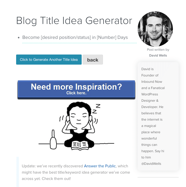 Inbound Now Blog Title Idea Generator