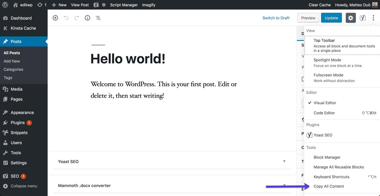 La opción de copiar todo el contenido en WordPress