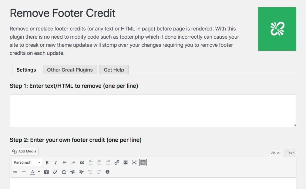 Pantalla de opciones de Remove Footer Credit